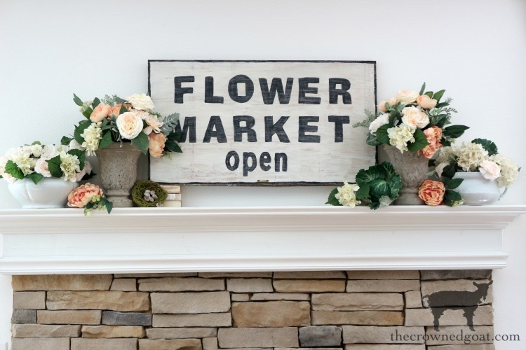 Simple-Spring-Mantel-The-Crowned-Goat-3 DIY Flower Market Sign Decorating DIY Spring Summer