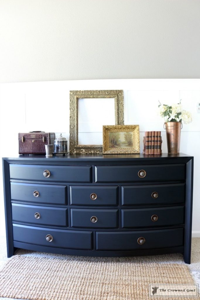 Lamp-Black-Painted-Dresser-14-683x1024 Painted Dresser in General Finishes Lamp Black DIY One_Room_Challenge Painted Furniture