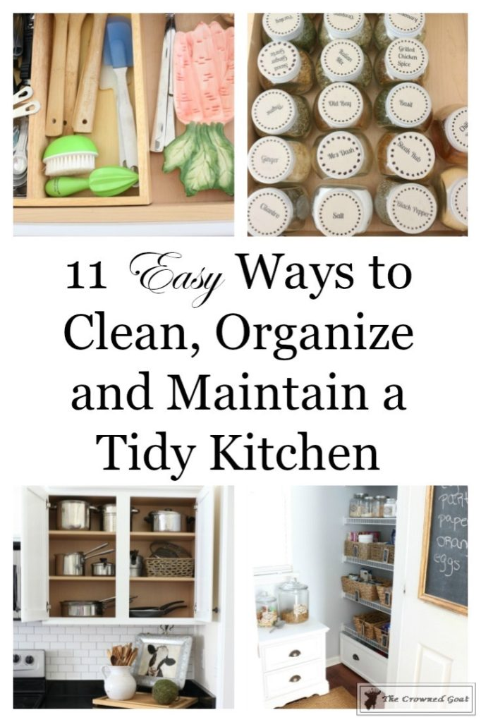 Easy-Ways-to-Keep-the-Kitchen-Clean-and-Organized-1-682x1024 11 Ways to Clean, Organize & Maintain Your Kitchen DIY Organization