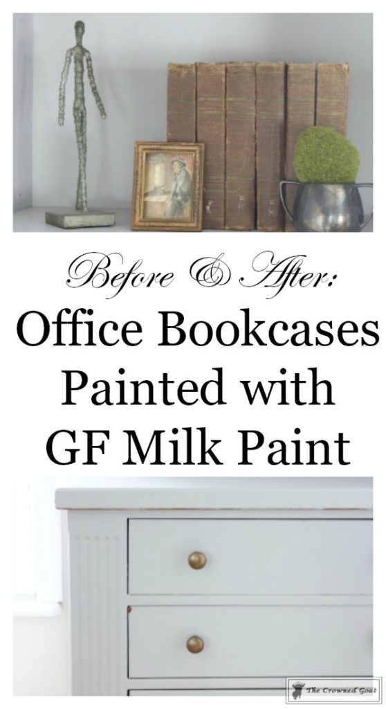Painted-Bookcases-in-GF-Seagull-Gray-The-Crowned-Goat-16-558x1024 Before and After: Painted Office Bookcases in Seagull Gray Decorating DIY