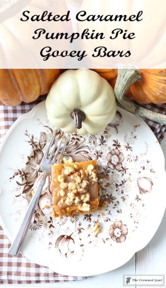 Salted-Caramel-Pumpkin-Spice-Gooey-Bars-The-Crowned-Goat-1-2 Salted Caramel Pumpkin Pie Gooey Bars Baking Fall