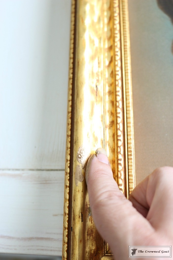 How-to-Antique-a-Gold-Frame-The-Crowned-Goat-5 How to Antique a Gold Picture Frame DIY