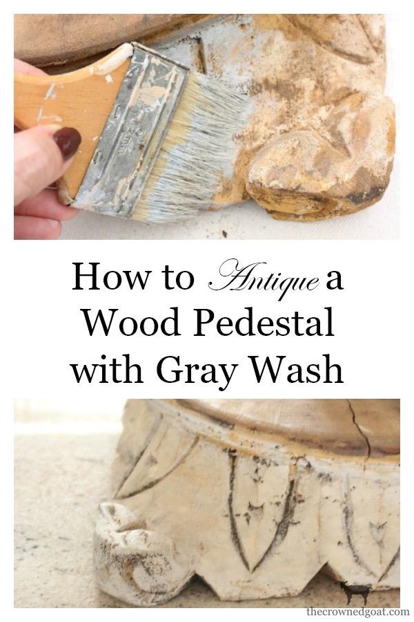 """DIY-Antique-Wooden-Pedestal-The-Crowned-Goat-4 """"Antique"""" Wood Pedestal Makeover DIY"""
