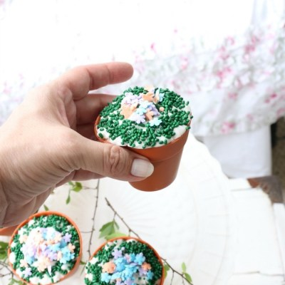 Spring Inspired Flower Pot Cupcakes