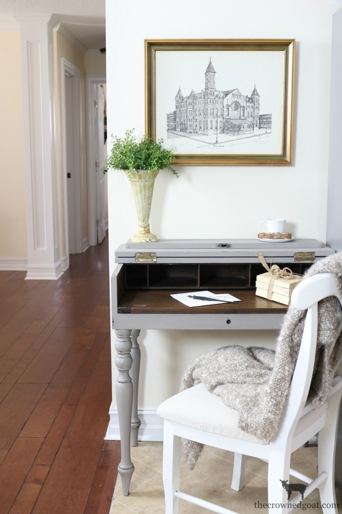 French-Linen-Kitchen-Desk-Makeover-The-Crowned-Goat-12 Loblolly Manor: Adding a Desk to the Kitchen Loblolly_Manor Painted Furniture