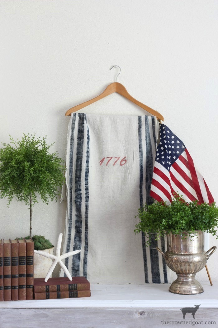 Patriotic-Grain-Sack-Table-Runner-The-Crowned-Goat-3 Patriotic Inspired Grain Sack Table Runner Decorating DIY Summer