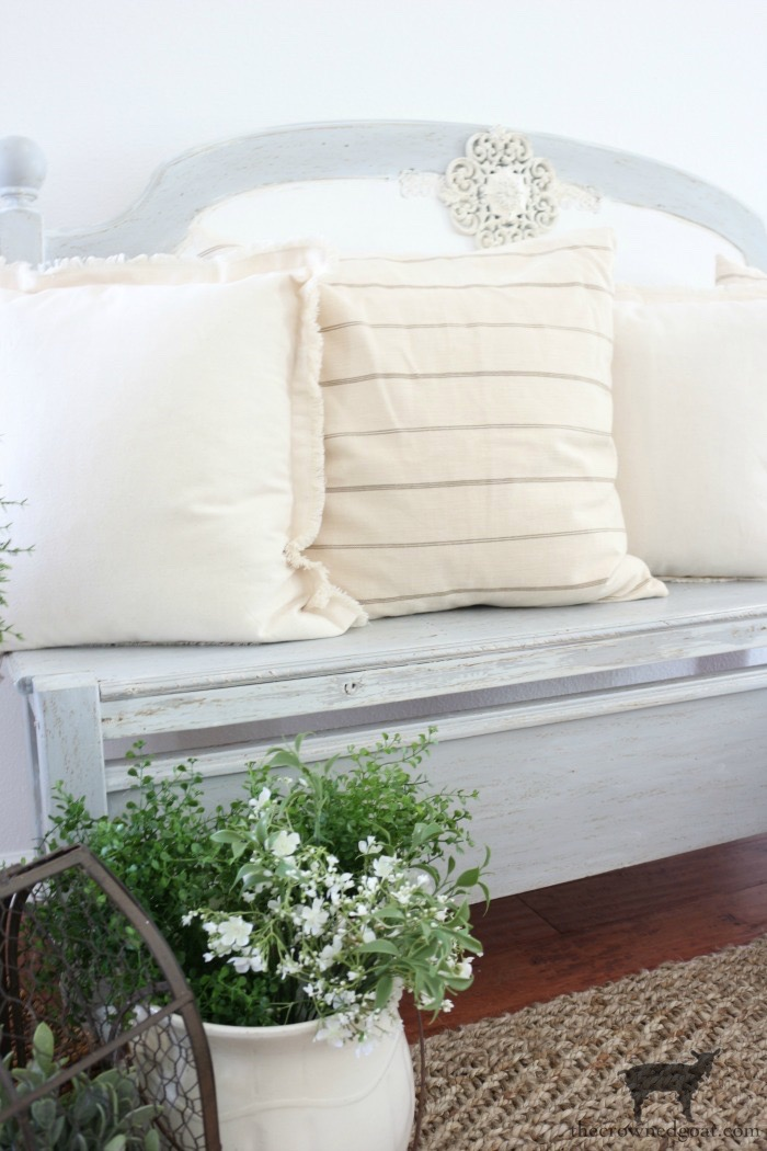 French-Farmhouse-Bench-Makeover-The-Crowned-Goat-13 French Farmhouse Inspired Bench Decorating DIY Painted Furniture