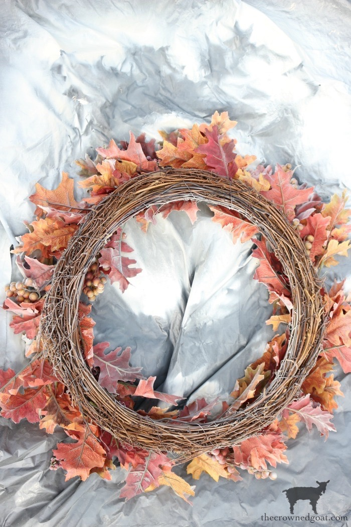 How-to-Repurpose-an-Old-Fall-Wreath-The-Crowned-Goat-2 How to Repurpose an Old Fall Wreath Decorating DIY Fall