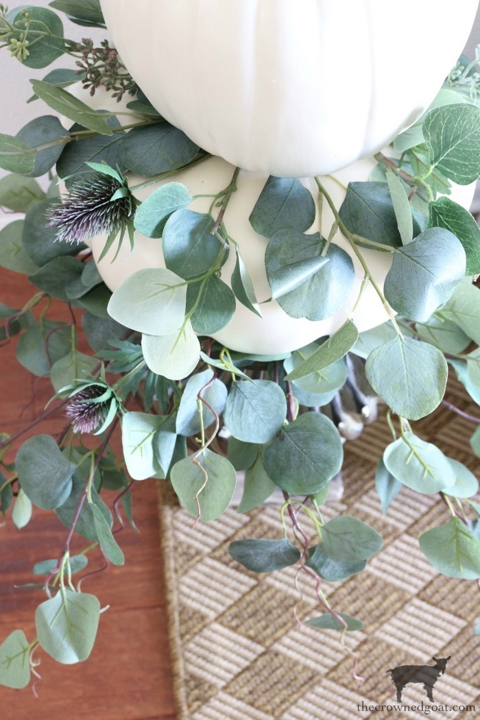 Simple-Stacked-Pumpkin-Topiary-The-Crowned-Goat-16 Simple Stacked Pumpkin Topiary with Eucalyptus Decorating DIY Fall