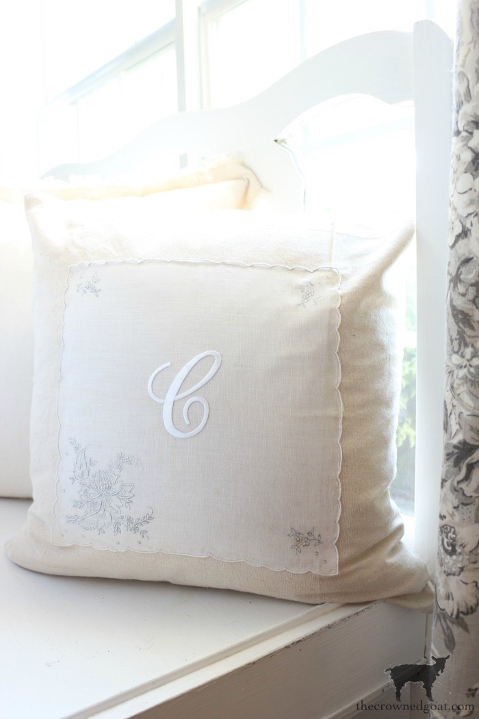 Vintage-Monogrammed-No-Sew-Pillow-Cover-The-Crowned-Goat-13 Vintage Monogrammed No Sew Pillows Decorating DIY