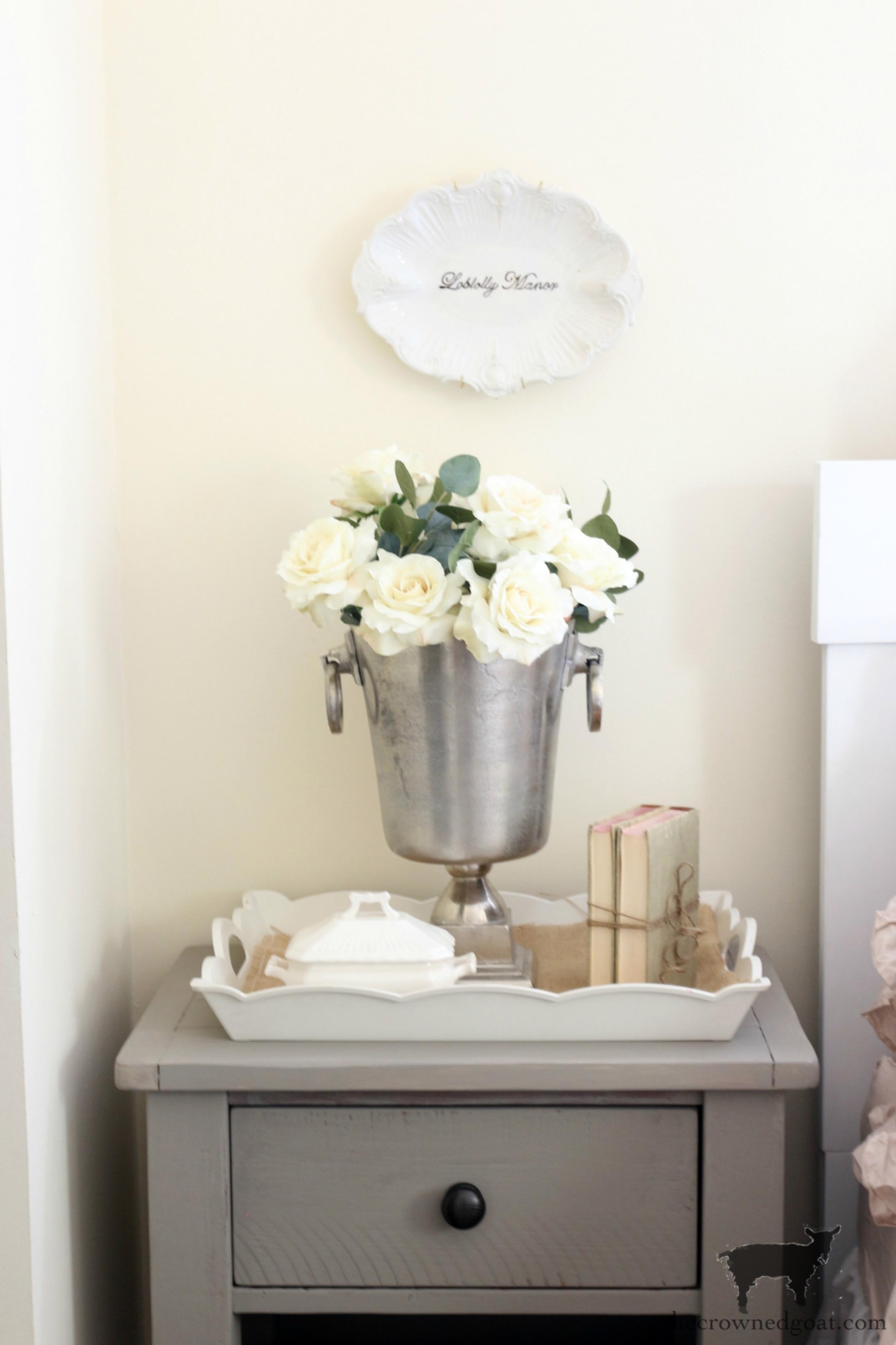 French-Linen-Nightstand-Makeover-The-Crowned-Goat-7 French Linen Nightstand Makeover Decorating DIY Painted Furniture