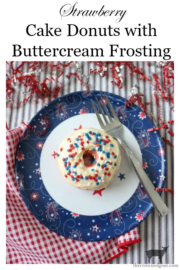 4th-of-July-Strawberry-Donuts-The-Crowned-Goat-18 Strawberry Cake Donuts with Buttercream Icing Baking DIY Holidays Summer