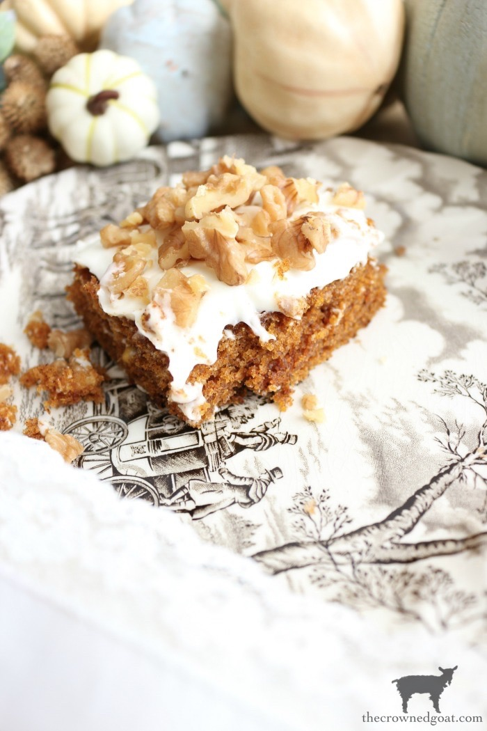 Pumpkin-Spice-Bars-Cream-Cheese-Icing-The-Crowned-Goat-4 Pumpkin Spice Bars with Cream Cheese Icing Baking Fall Holidays