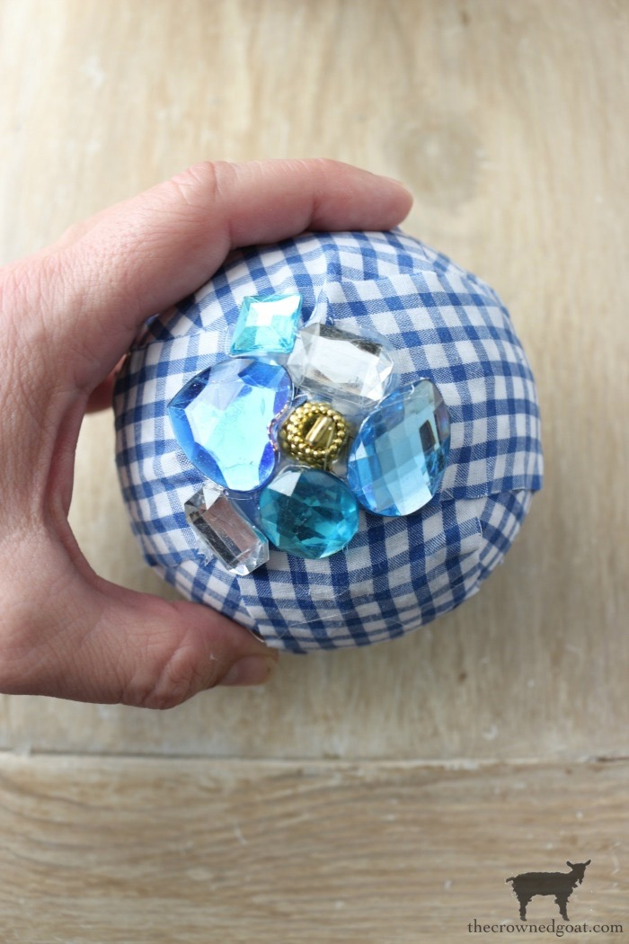 Blue-and-White-Check-Rag-Ball-Ornaments-The-Crowned-Goat-12 Blue and White Check Rag Ball Ornaments Bliss Barracks Christmas Crafts Holidays