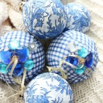 Blue-and-White-Check-Rag-Ball-Ornaments-The-Crowned-Goat-2 Holidays