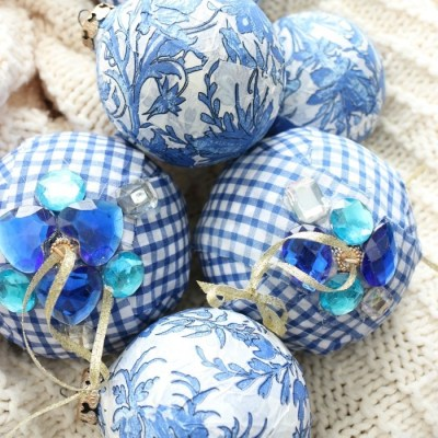 Blue and White Check Rag Ball Ornaments
