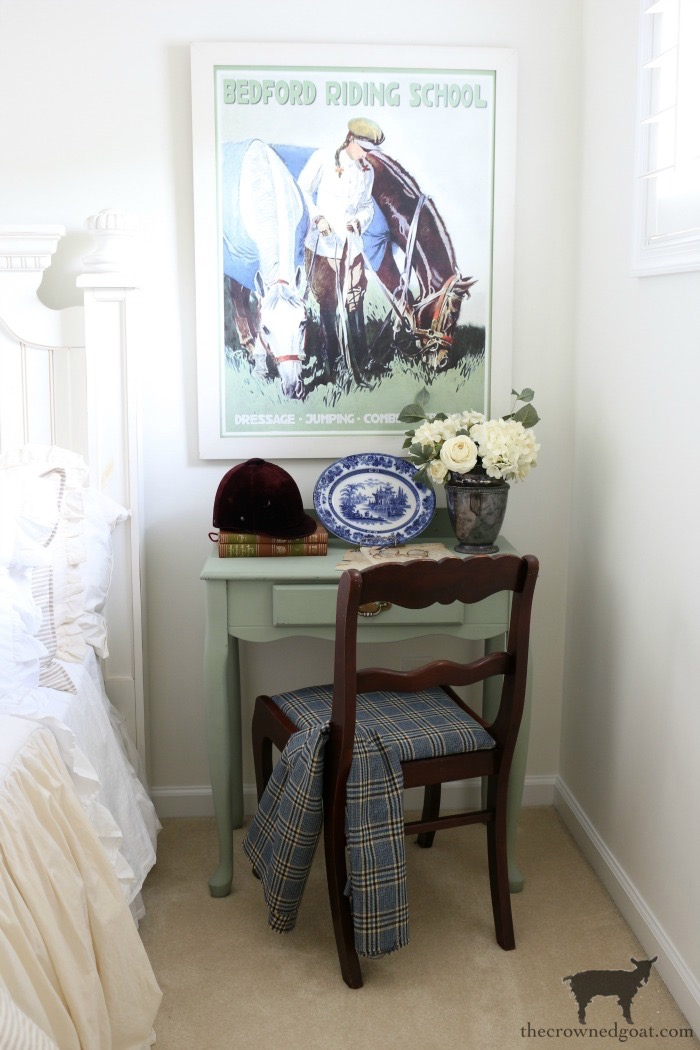 Thrifted-Desk-with-Horse-Poster-The-Crowned-Goat Blue and White Guest Bedroom Refresh Bliss Barracks Decorating DIY