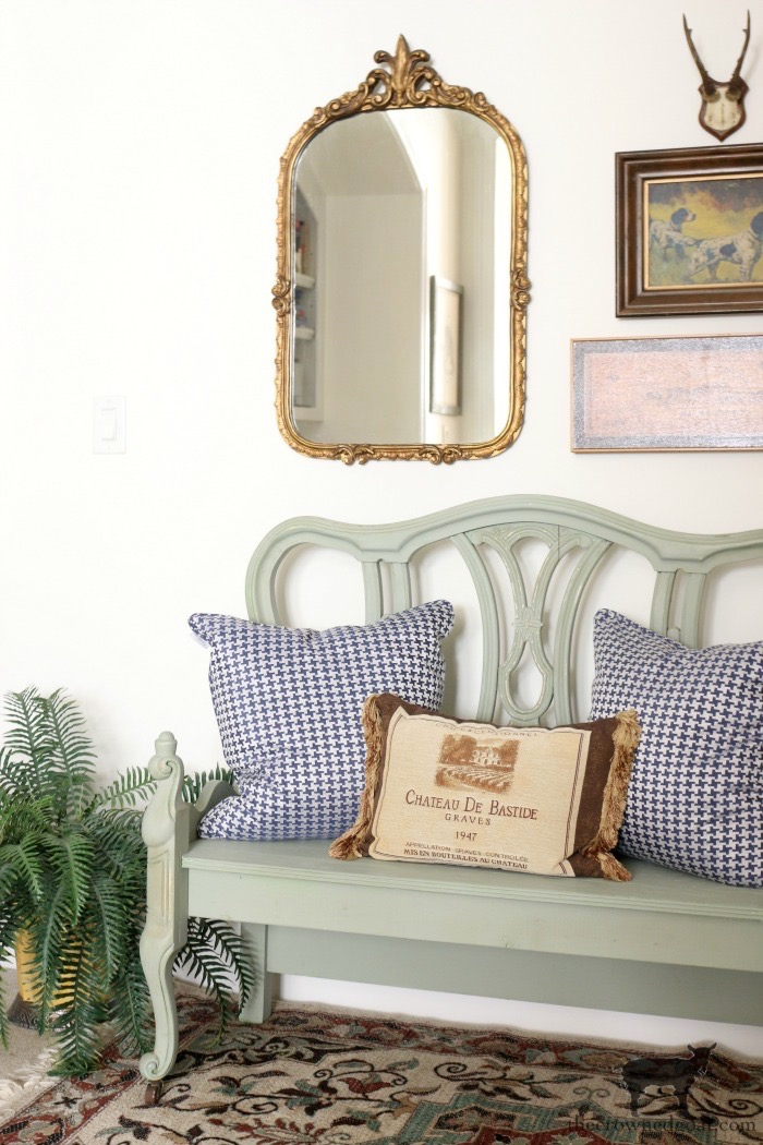 French-Country-Bench-Makeover-in-Cartouche-Green-The-Crowned-Goat-14 French Country Bench Makeover in Cartouche Green Bliss Barracks Decorating DIY Painted Furniture