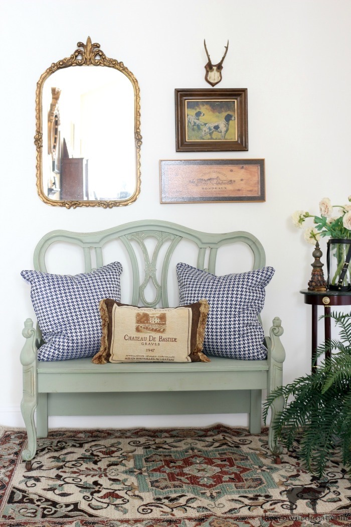 French-Country-Bench-Makeover-in-Cartouche-Green-The-Crowned-Goat-15 French Country Bench Makeover in Cartouche Green Bliss Barracks Decorating DIY Painted Furniture