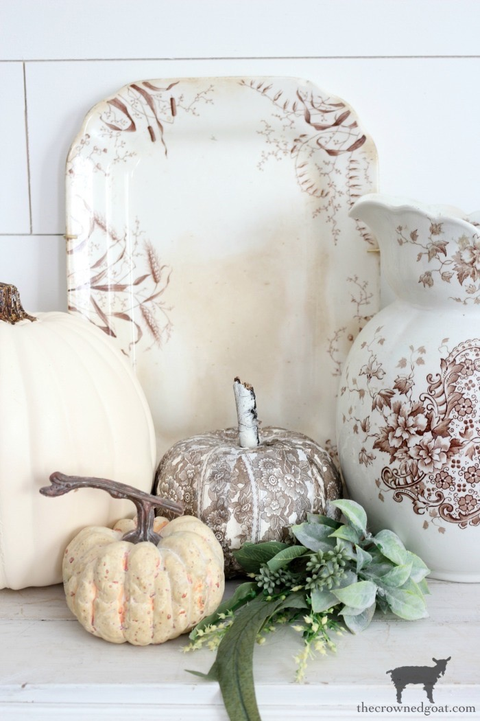 DIY-Brown-and-White-Transferware-Pumpkins-The-Crowned-Goat-19 Brown and White Transferware Pumpkins Crafts Fall Holidays