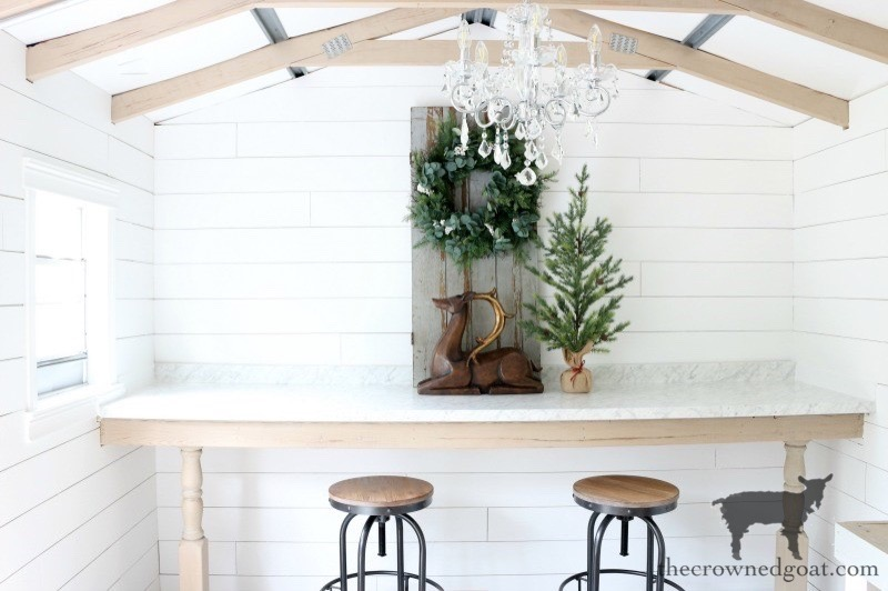 One-Room-Challenge-Budget-Friendly-Shed-Makeover-The-Crowned-Goat-12 Budget Friendly Shed Makeover Reveal Christmas Decorating DIY Holidays The Crowned Goat Cottage