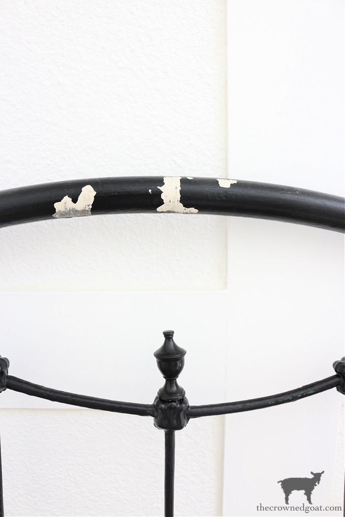 Antique-Bed-with-Replacement-Finial-The-Crowned-Goat How to Add Patina to a Metal Bed DIY One_Room_Challenge