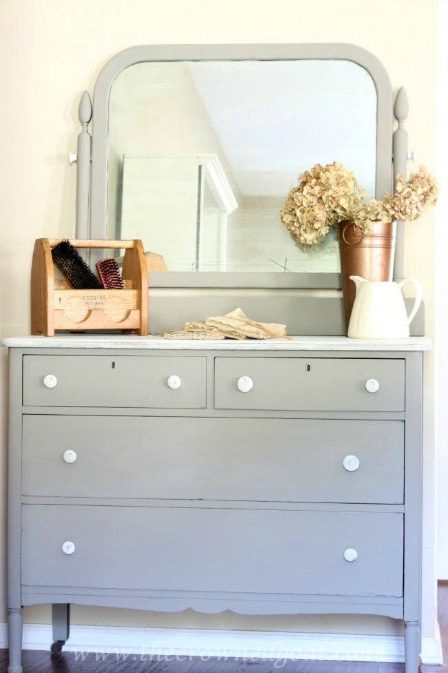 Annie Sloan Chalk Paint - French Linen Painted Dresser - The Crowned Goat - 072215-10