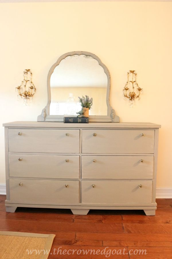 French Linen Painted Dresser - The Crowned Goat - 082015-7