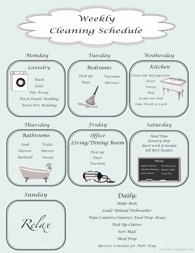 Daily Cleaning Schedule - The Crowned Goat