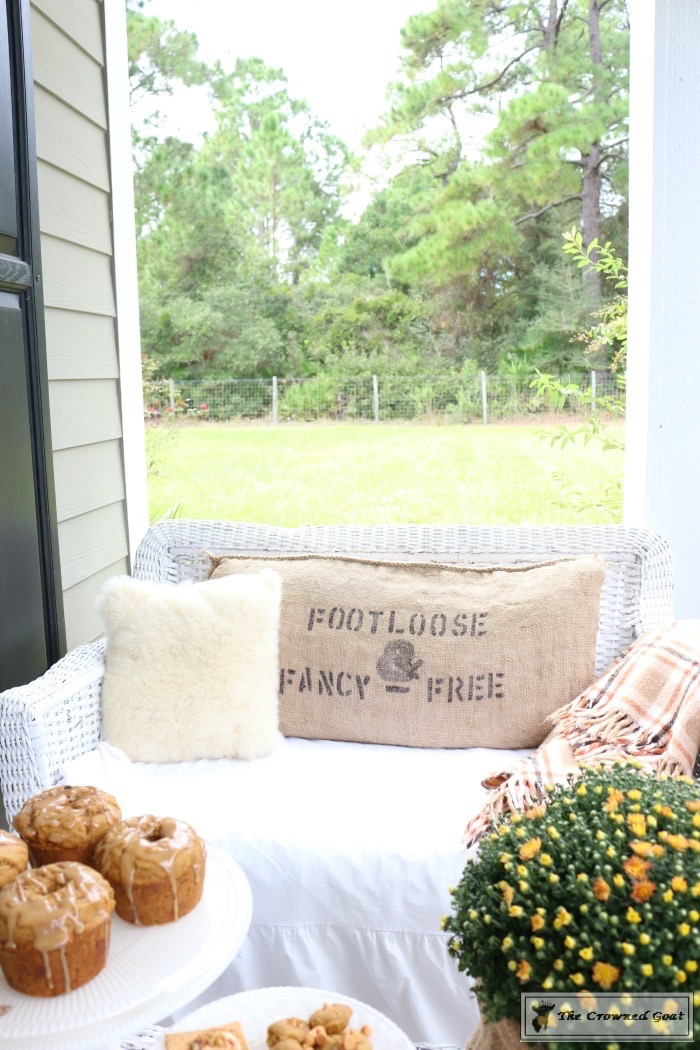 Stenciled Feed Sack Pillow Covers