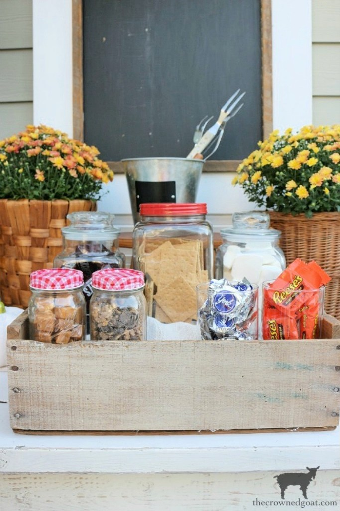 How to Create a Quick and Easy Smores Bar-Placing Smores Bars Treats in an Old Crate to Make Them Easier to Carry-The Crowned Goat