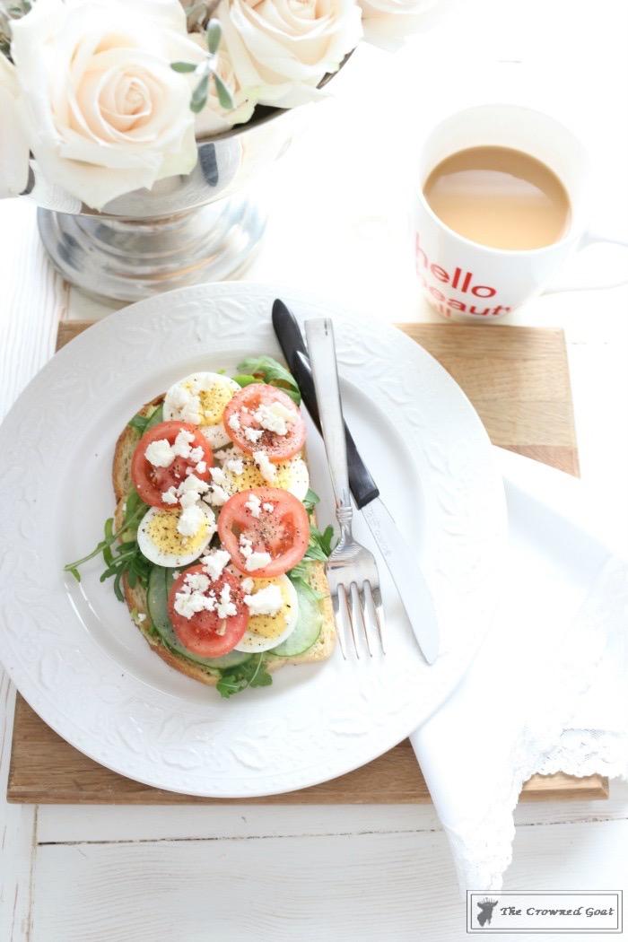 Delicious Open-Faced Breakfast Sandwich