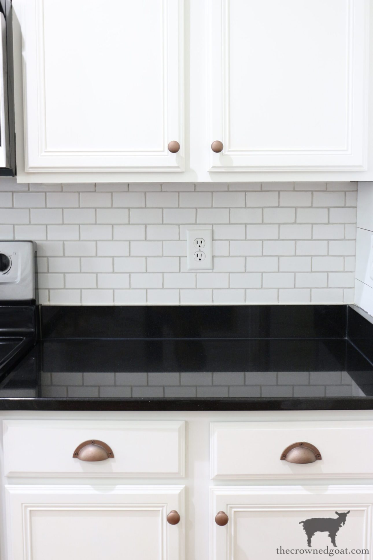 How to Easily Change the Color of Existing Grout-The Crowned Goat