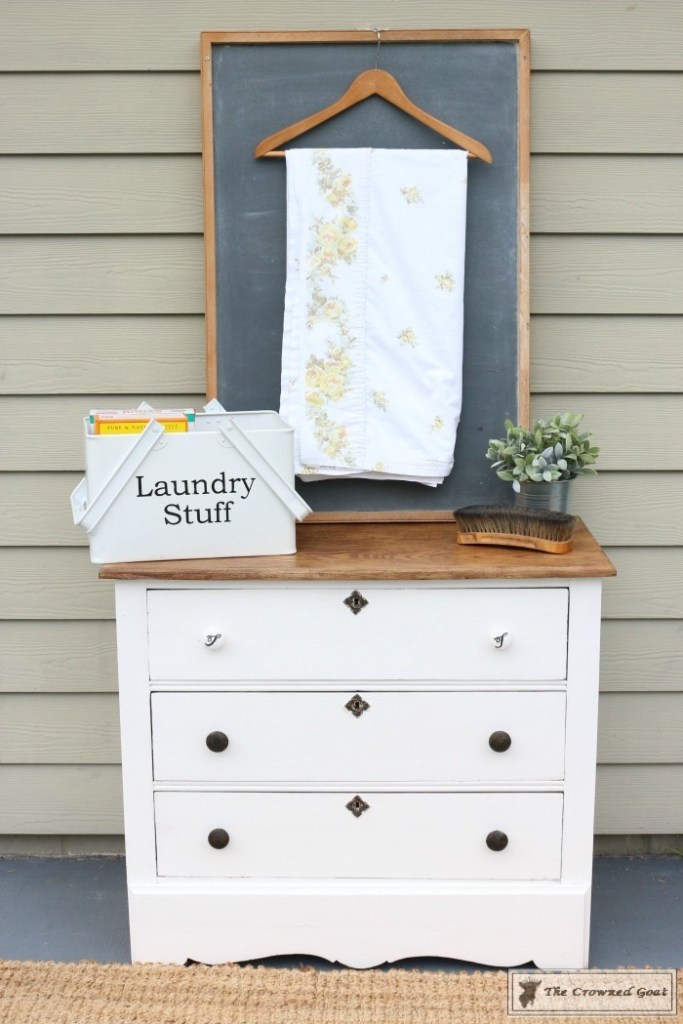 How to Create a Laundry Room Folding Station from a Dresser-The Crowned Goat-10