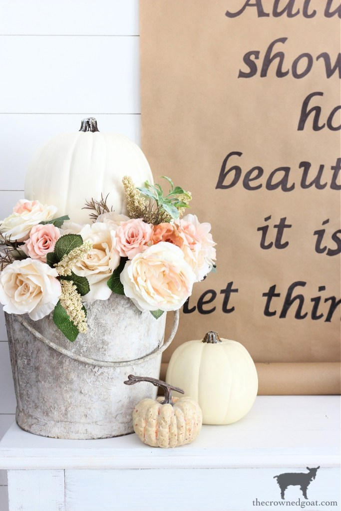 Fall Floral and Pumpkin Centerpiece or Vignette Idea-The Crowned Goat