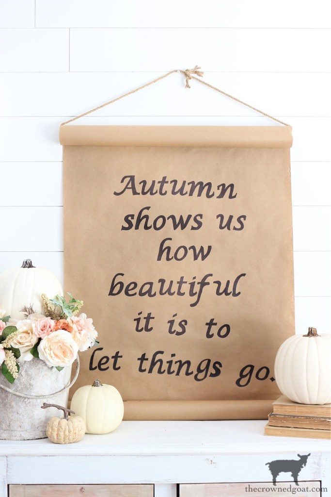 Fall Quote and Easy Kraft Paper Sign Vignette Idea-The Crowned Goat