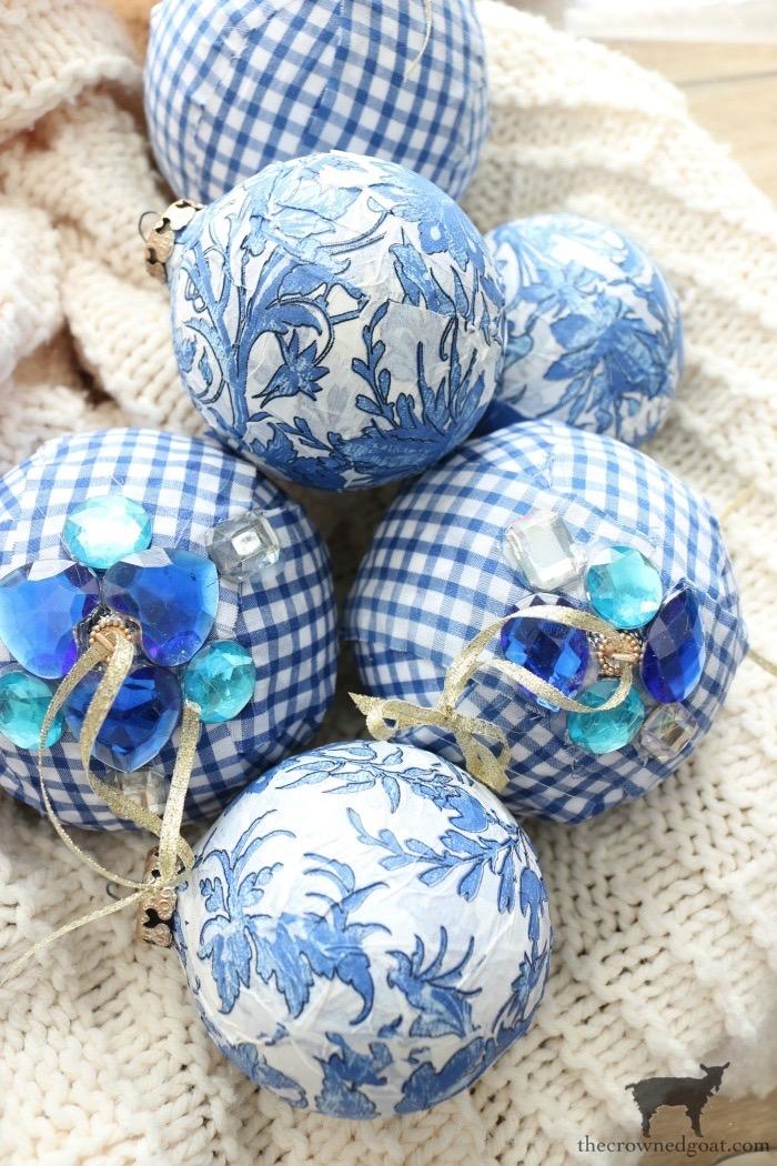 Blue and White Check Rag Ball Ornaments
