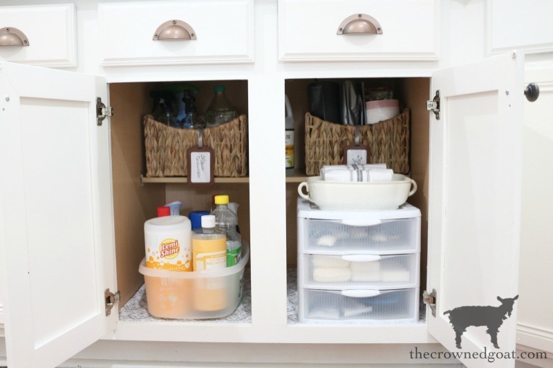Organizing cleaning supply cabinet