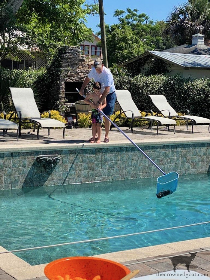 Cleaning out the pool - The Crowned Goat