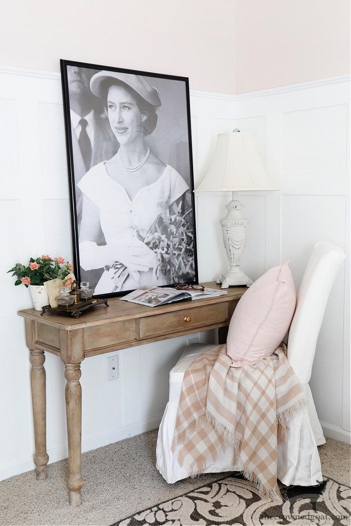 Cottage Inspired Guest Bedroom Desk-One Room Challenge Makeover Reveal-The Crowned Goat