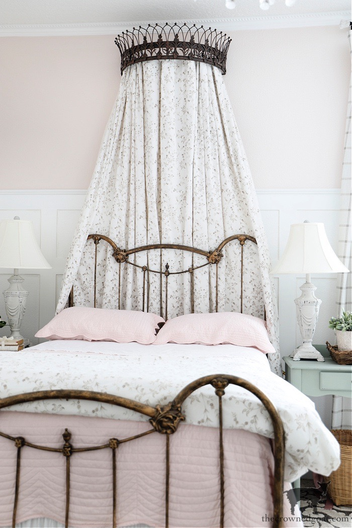 Antique Bed and Bed Crown-Blush Pink Bedroom Makeover-The Crowned Goat