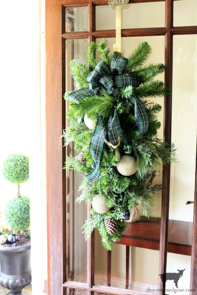 Blue and White Christmas Door Swag - The Crowned Goat