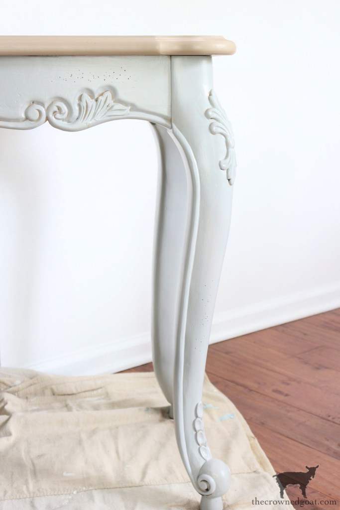 French Country Table Makeover Legs Painted in Metropolitan-The Crowned Goat