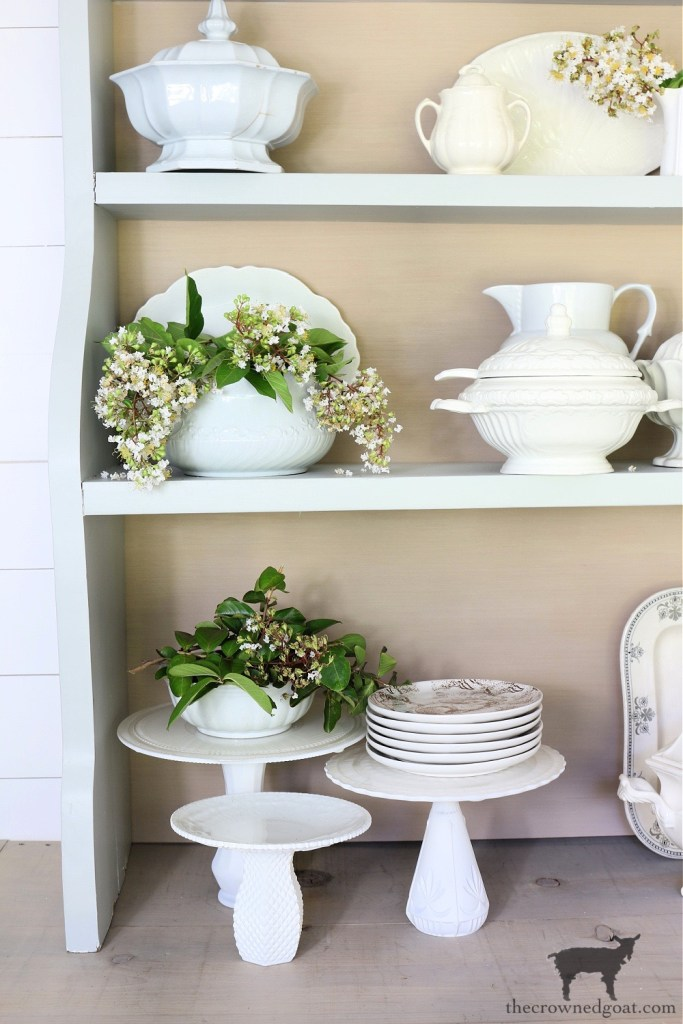 Simple Decorationg Ideas Using Ironstone and Crepe Myrtles-The Crowned Goat