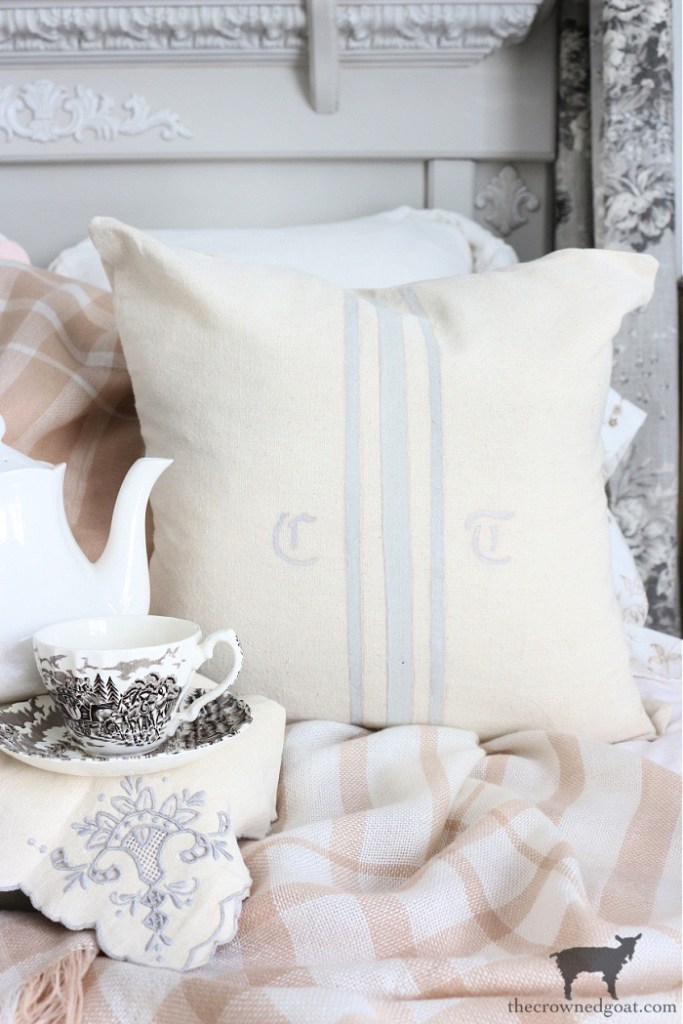 Brown and White Transferware Teacup and No Sew DIY Grain Sack Pillow Cover-The Crowned Goat