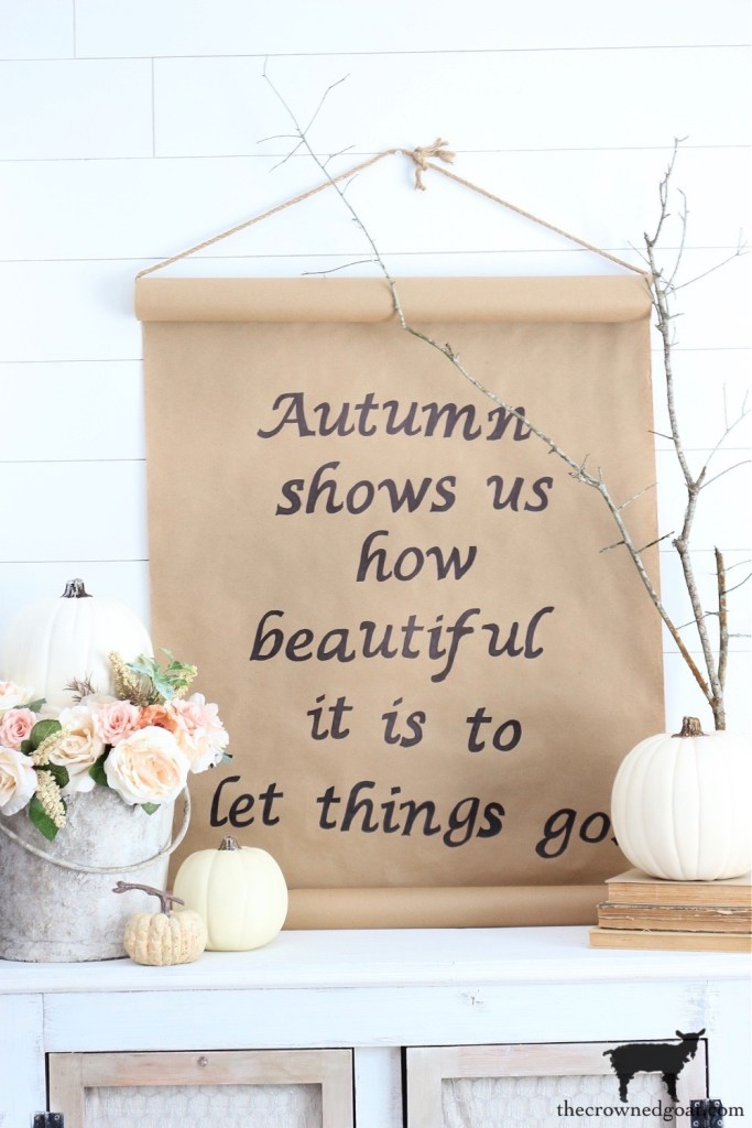 Fall Home Tour-DIY Fall Craft Paper Sign with Flowers, Pumpkins and Branches-The Crowned Goat