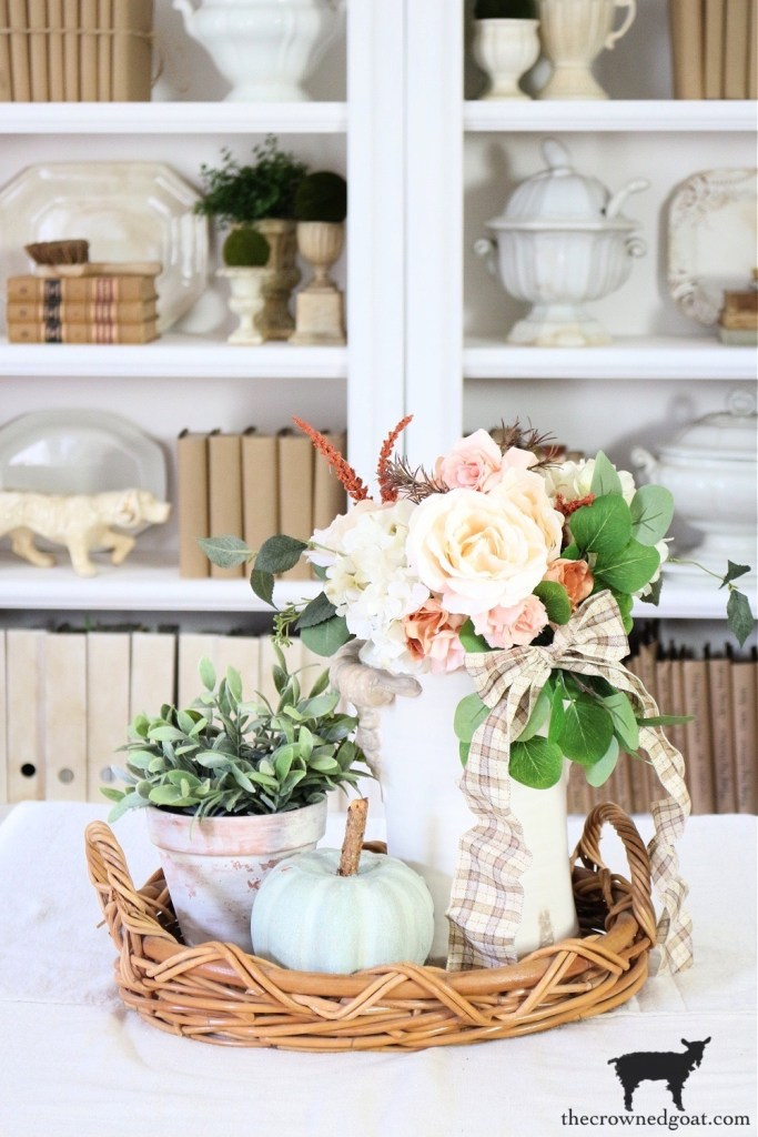Fall Home Tour-Fall Vignette with DIY Heirloom Pumpkin in the Living Room-The Crowned Goat