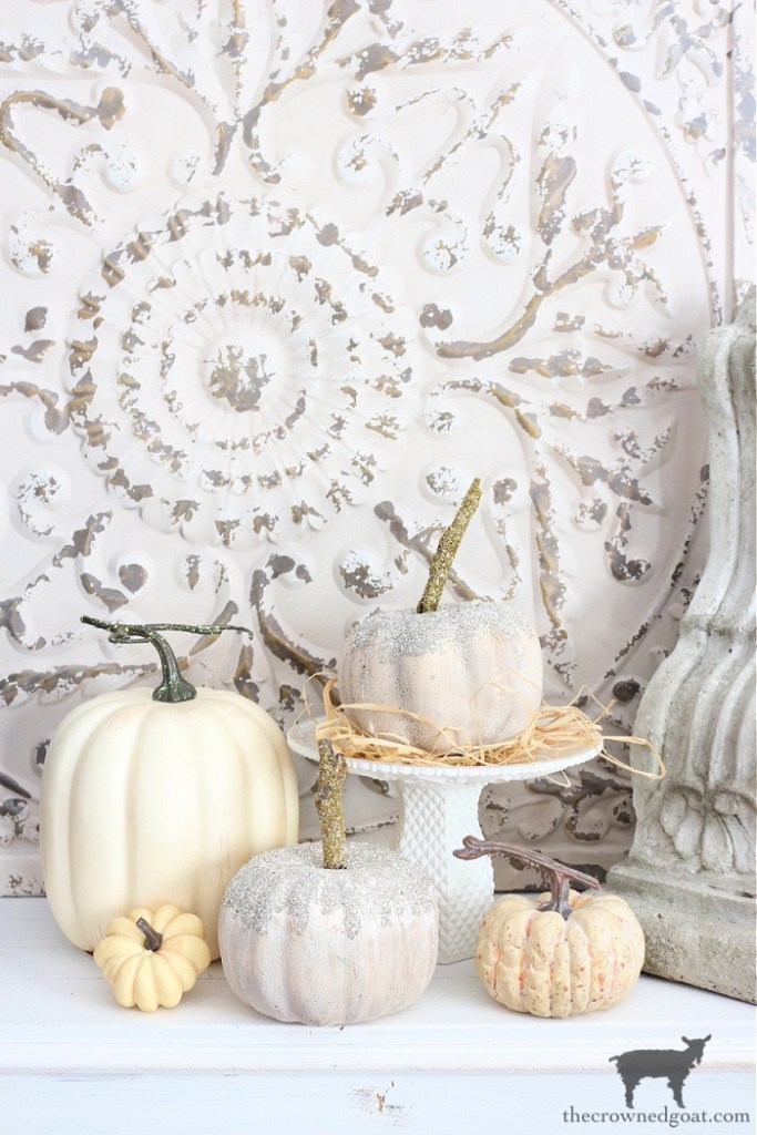 Faux and Dollar Store Glass Glitter Pumpkins-The Crowned Goat