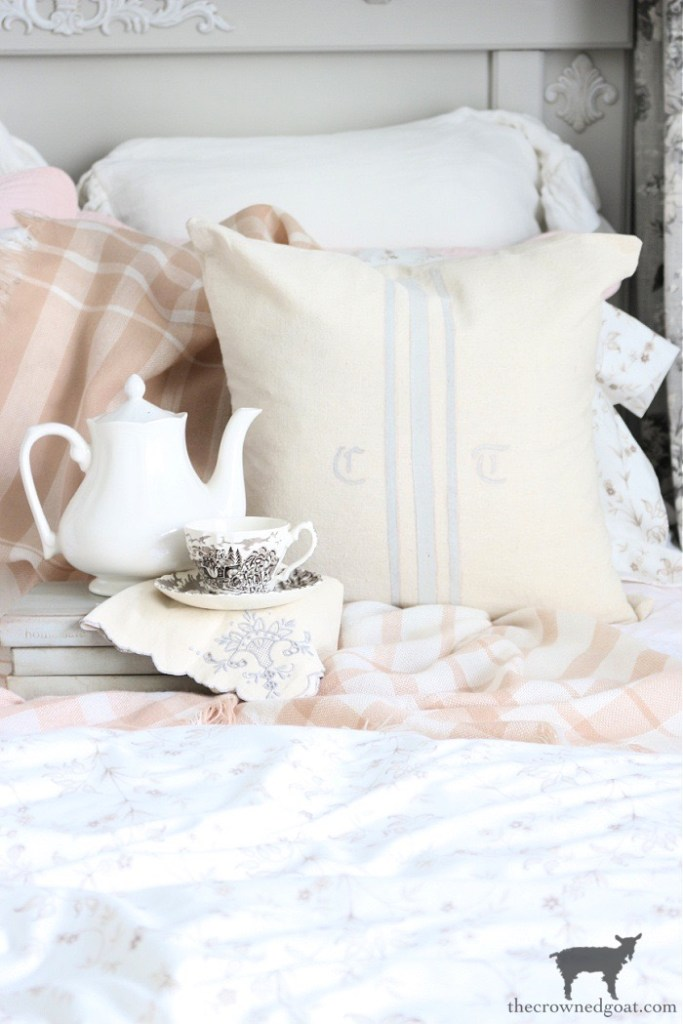 No Sew DIY Grain Sack Pillow Cover with Teacup and Ironstone-The Crowned Goat