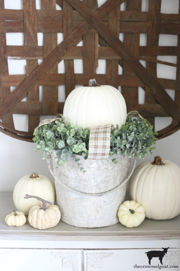 SImple White Pumpkin Vignette-The Crowned Goat